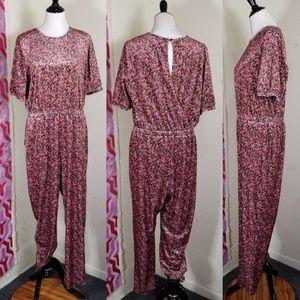 Pink and black Velvet floral jumpsuit Old Navy L